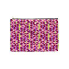 Pink Yelllow Line Light Purple Vertical Cosmetic Bag (medium)  by Alisyart