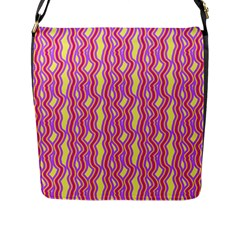 Pink Yelllow Line Light Purple Vertical Flap Messenger Bag (l)  by Alisyart