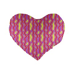 Pink Yelllow Line Light Purple Vertical Standard 16  Premium Flano Heart Shape Cushions by Alisyart