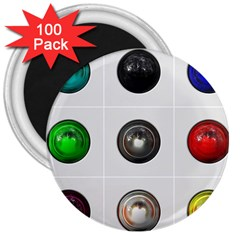9 Power Buttons 3  Magnets (100 Pack) by Simbadda
