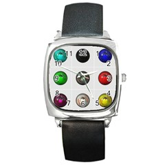9 Power Buttons Square Metal Watch by Simbadda