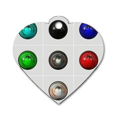 9 Power Buttons Dog Tag Heart (two Sides) by Simbadda
