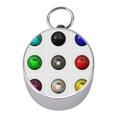 9 Power Buttons Mini Silver Compasses by Simbadda