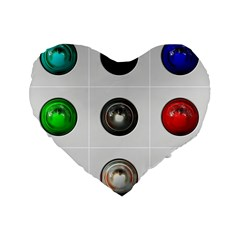 9 Power Buttons Standard 16  Premium Flano Heart Shape Cushions by Simbadda