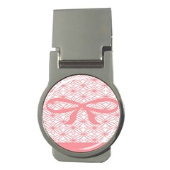 Pink Plaid Circle Money Clips (round)  by Alisyart