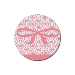 Pink Plaid Circle Rubber Coaster (round)  by Alisyart