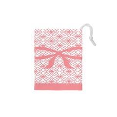 Pink Plaid Circle Drawstring Pouches (xs)  by Alisyart