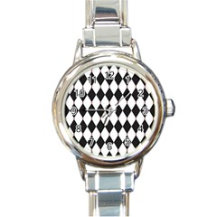 Plaid Triangle Line Wave Chevron Black White Red Beauty Argyle Round Italian Charm Watch by Alisyart