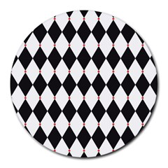 Plaid Triangle Line Wave Chevron Black White Red Beauty Argyle Round Mousepads by Alisyart