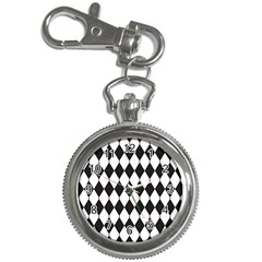 Plaid Triangle Line Wave Chevron Black White Red Beauty Argyle Key Chain Watches by Alisyart