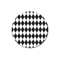 Plaid Triangle Line Wave Chevron Black White Red Beauty Argyle Magnet 3  (round) by Alisyart