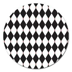 Plaid Triangle Line Wave Chevron Black White Red Beauty Argyle Magnet 5  (round) by Alisyart
