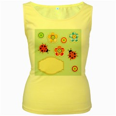 Buttons & Ladybugs Cute Women s Yellow Tank Top by Simbadda