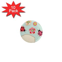 Buttons & Ladybugs Cute 1  Mini Magnet (10 Pack)  by Simbadda
