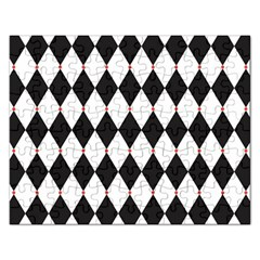 Plaid Triangle Line Wave Chevron Black White Red Beauty Argyle Rectangular Jigsaw Puzzl by Alisyart