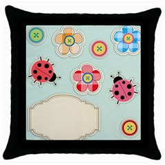 Buttons & Ladybugs Cute Throw Pillow Case (black) by Simbadda