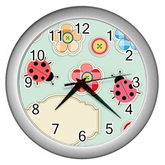 Buttons & Ladybugs Cute Wall Clocks (silver)  by Simbadda