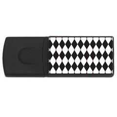 Plaid Triangle Line Wave Chevron Black White Red Beauty Argyle Usb Flash Drive Rectangular (4 Gb) by Alisyart