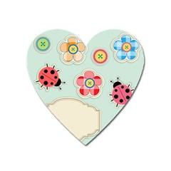Buttons & Ladybugs Cute Heart Magnet by Simbadda