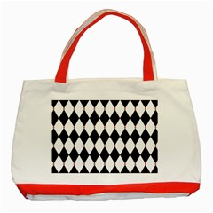 Plaid Triangle Line Wave Chevron Black White Red Beauty Argyle Classic Tote Bag (red) by Alisyart