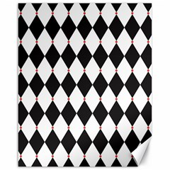 Plaid Triangle Line Wave Chevron Black White Red Beauty Argyle Canvas 16  X 20   by Alisyart