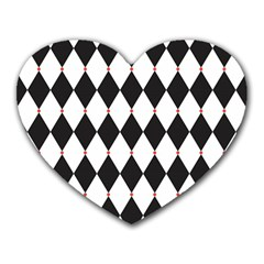 Plaid Triangle Line Wave Chevron Black White Red Beauty Argyle Heart Mousepads by Alisyart