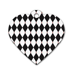 Plaid Triangle Line Wave Chevron Black White Red Beauty Argyle Dog Tag Heart (one Side) by Alisyart