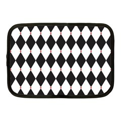 Plaid Triangle Line Wave Chevron Black White Red Beauty Argyle Netbook Case (medium)  by Alisyart
