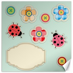 Buttons & Ladybugs Cute Canvas 12  X 12   by Simbadda