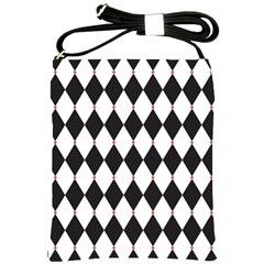 Plaid Triangle Line Wave Chevron Black White Red Beauty Argyle Shoulder Sling Bags by Alisyart