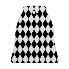 Plaid Triangle Line Wave Chevron Black White Red Beauty Argyle Ornament (bell) by Alisyart