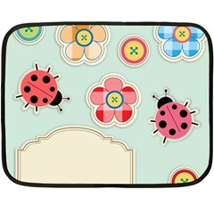 Buttons & Ladybugs Cute Double Sided Fleece Blanket (mini)  by Simbadda