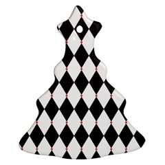 Plaid Triangle Line Wave Chevron Black White Red Beauty Argyle Christmas Tree Ornament (two Sides) by Alisyart