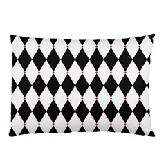 Plaid Triangle Line Wave Chevron Black White Red Beauty Argyle Pillow Case (two Sides) by Alisyart