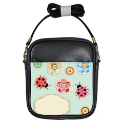 Buttons & Ladybugs Cute Girls Sling Bags by Simbadda