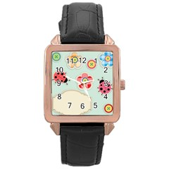 Buttons & Ladybugs Cute Rose Gold Leather Watch  by Simbadda