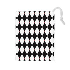 Plaid Triangle Line Wave Chevron Black White Red Beauty Argyle Drawstring Pouches (large)  by Alisyart