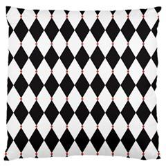 Plaid Triangle Line Wave Chevron Black White Red Beauty Argyle Large Flano Cushion Case (one Side) by Alisyart