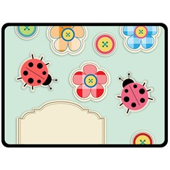 Buttons & Ladybugs Cute Double Sided Fleece Blanket (large)  by Simbadda
