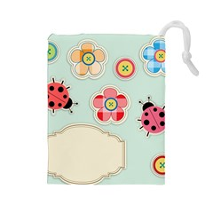 Buttons & Ladybugs Cute Drawstring Pouches (large)  by Simbadda