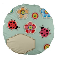 Buttons & Ladybugs Cute Large 18  Premium Flano Round Cushions by Simbadda