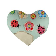 Buttons & Ladybugs Cute Standard 16  Premium Flano Heart Shape Cushions by Simbadda