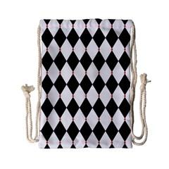 Plaid Triangle Line Wave Chevron Black White Red Beauty Argyle Drawstring Bag (small) by Alisyart