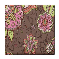 Ice Cream Flower Floral Rose Sunflower Leaf Star Brown Tile Coasters by Alisyart