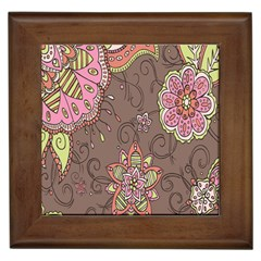 Ice Cream Flower Floral Rose Sunflower Leaf Star Brown Framed Tiles by Alisyart