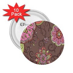 Ice Cream Flower Floral Rose Sunflower Leaf Star Brown 2 25  Buttons (10 Pack)  by Alisyart