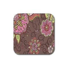 Ice Cream Flower Floral Rose Sunflower Leaf Star Brown Rubber Square Coaster (4 Pack)  by Alisyart