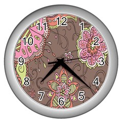 Ice Cream Flower Floral Rose Sunflower Leaf Star Brown Wall Clocks (silver)  by Alisyart