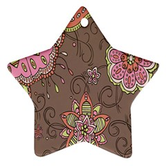 Ice Cream Flower Floral Rose Sunflower Leaf Star Brown Star Ornament (two Sides) by Alisyart