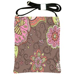 Ice Cream Flower Floral Rose Sunflower Leaf Star Brown Shoulder Sling Bags by Alisyart